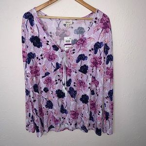 Style & Co. Floral Printed Long Sleeve Blouse.